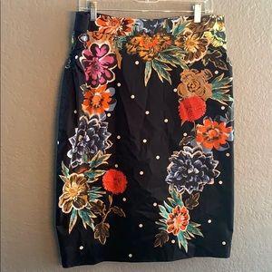 Anthropologie floral and polkdot skirt